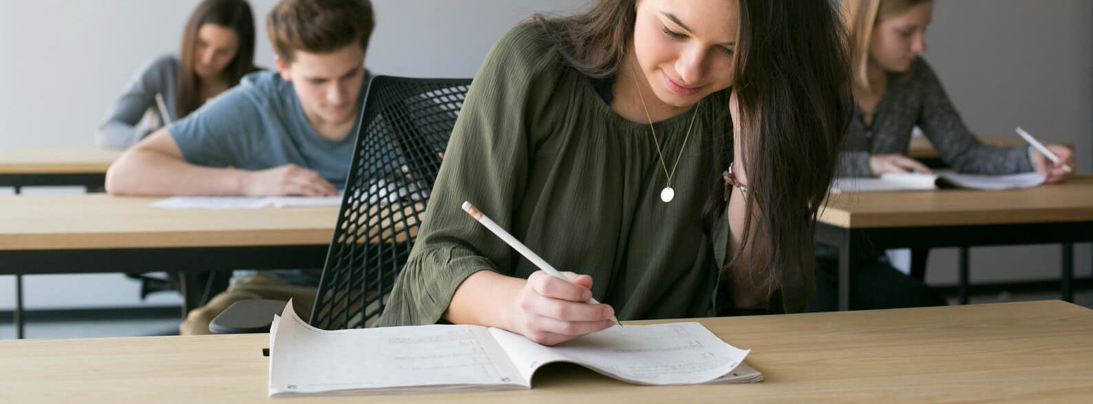 High school student works on their college test prep at Galin Education.